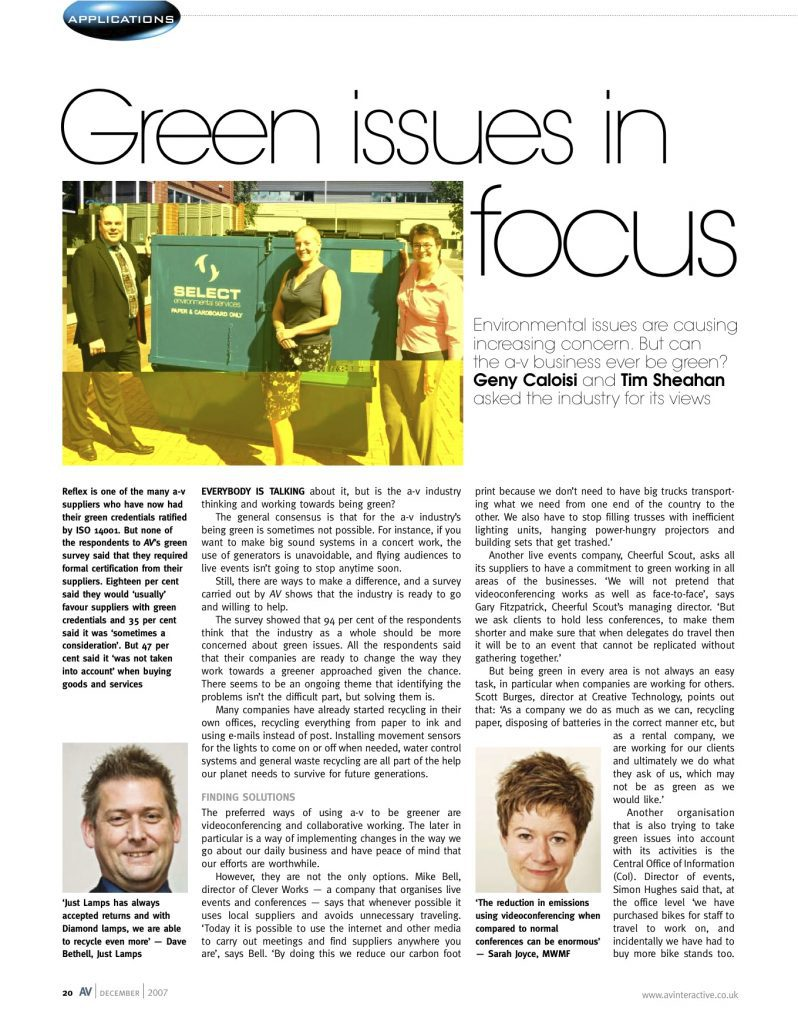 AV Magazine, applications - Green Issues in focus